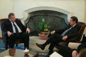 Greek FM (Left) with President Anastasiades