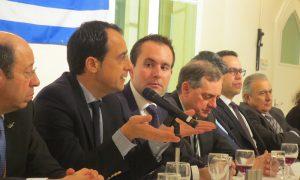 Cyprus High Commisioner  Evripides Evriviades (L)- Government Spokesman Nicos Christodoulides (M)-NFC President Christos Karaolis (R)