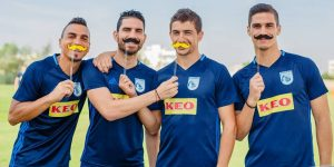 The Cypriot players sported a fake moustache...